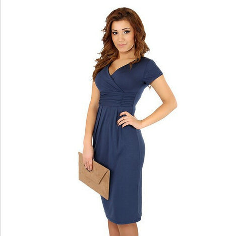 V-Neck Short Sleeves Knee-Length Pregnant Dress - MeetYoursFashion - 4