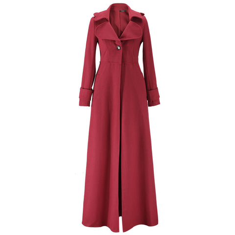 Turn-down Collar Woolen Slim Full Length Coat - Meet Yours Fashion - 8