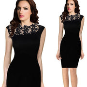 Floral Crochet Stretch Bodycon Knee-length Black Dress - Meet Yours Fashion - 7