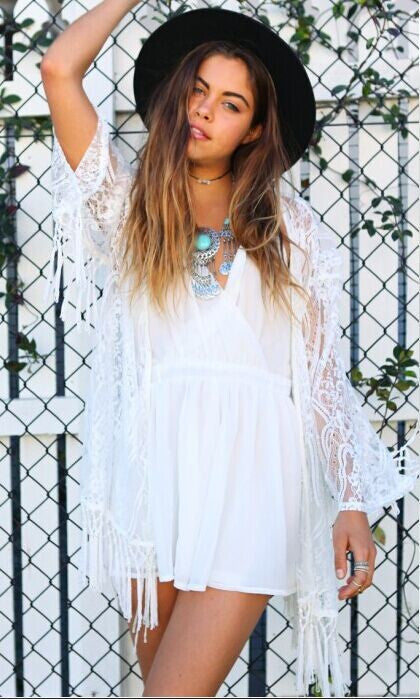 Lace Tassels Hollow Long Sleeve Short Cover Up Dress