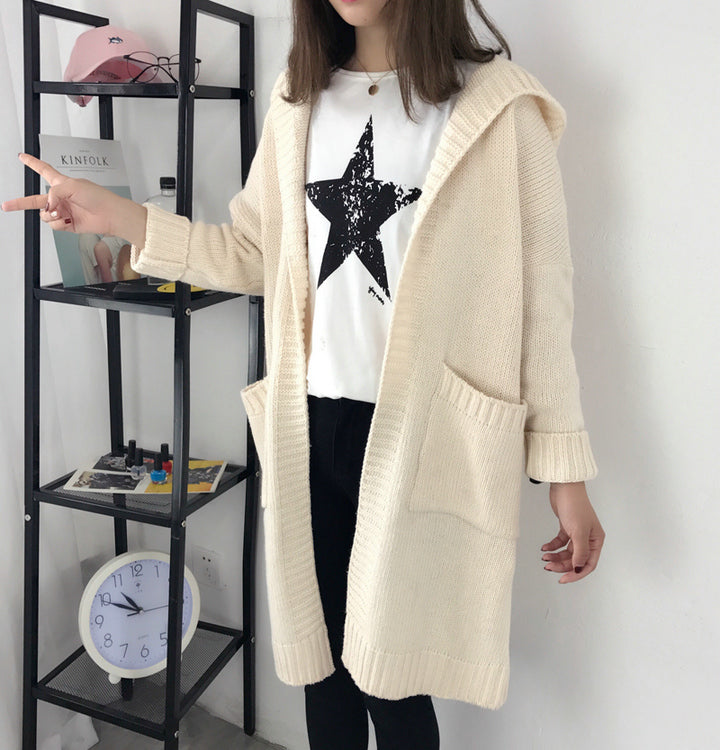 Hooded Pockets Solid Color Women Oversized Cocoon Cardigan