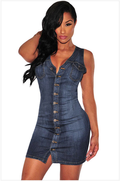 V-neck Button Decoration Short Bodycon Tank Jeans Dress Clubwear - MeetYoursFashion - 2
