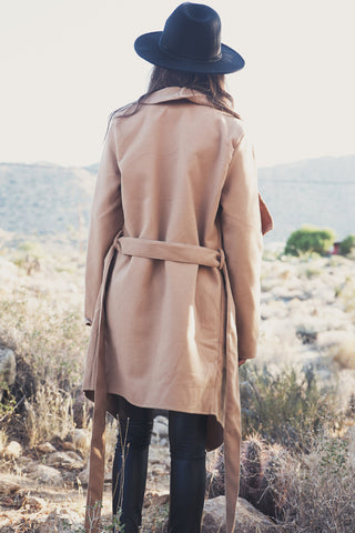 Khaki Belt Asymmetric Long sleeve Coat - Meet Yours Fashion - 7