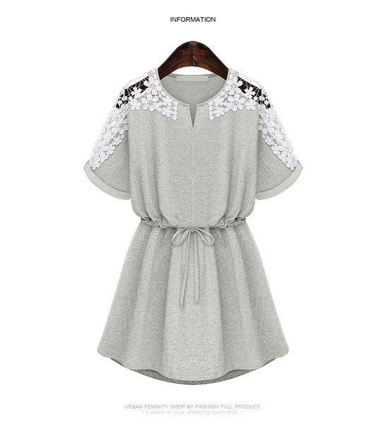 Crew Neck Floral Mini Lace Dress - MeetYoursFashion - 7