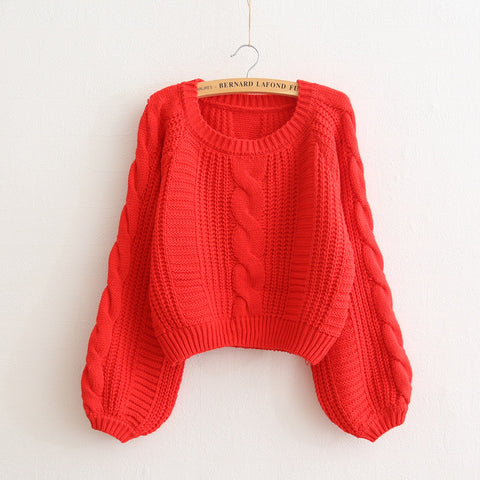 Cable Sleeve Coarse Yam Pure Color Pullover Sweater - Meet Yours Fashion - 7
