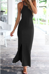 Spaghetti Strap Split Backless Solid Slim Beach Dress - Meet Yours Fashion - 1