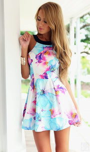 Flower Print Floral Backless Mini Tank Dress - Meet Yours Fashion - 6