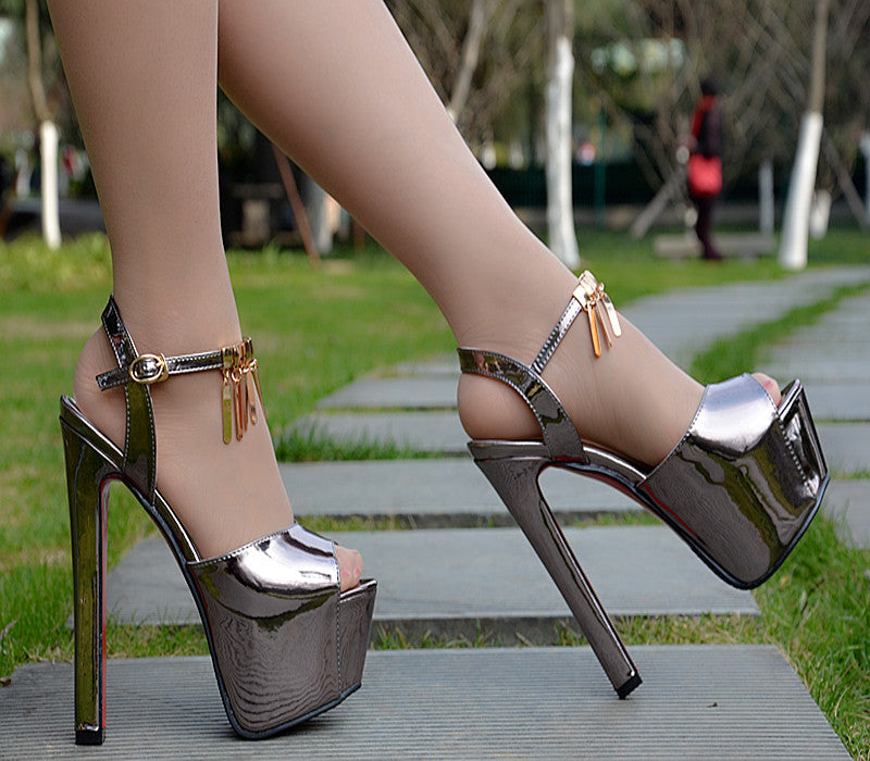 Metal Decorate Peep Toe Ankle Wrap Platform Super High Heels Sandals