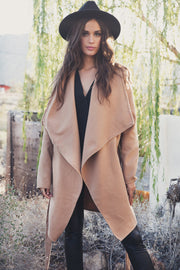 Khaki Belt Asymmetric Long sleeve Coat - Meet Yours Fashion - 4