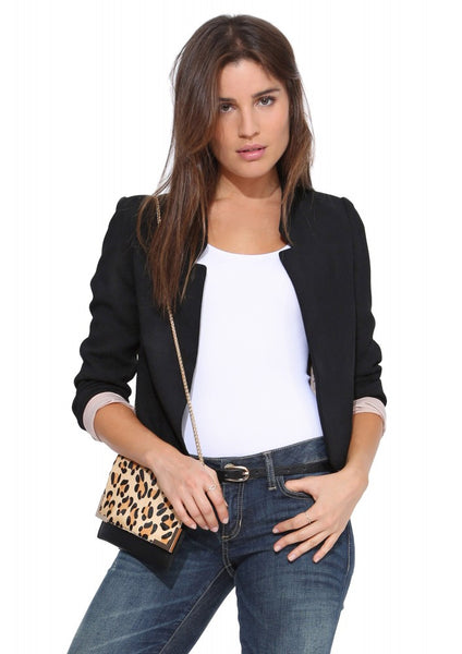 Slim Stand Collar Fashion Pure Color Short Blazer Coat