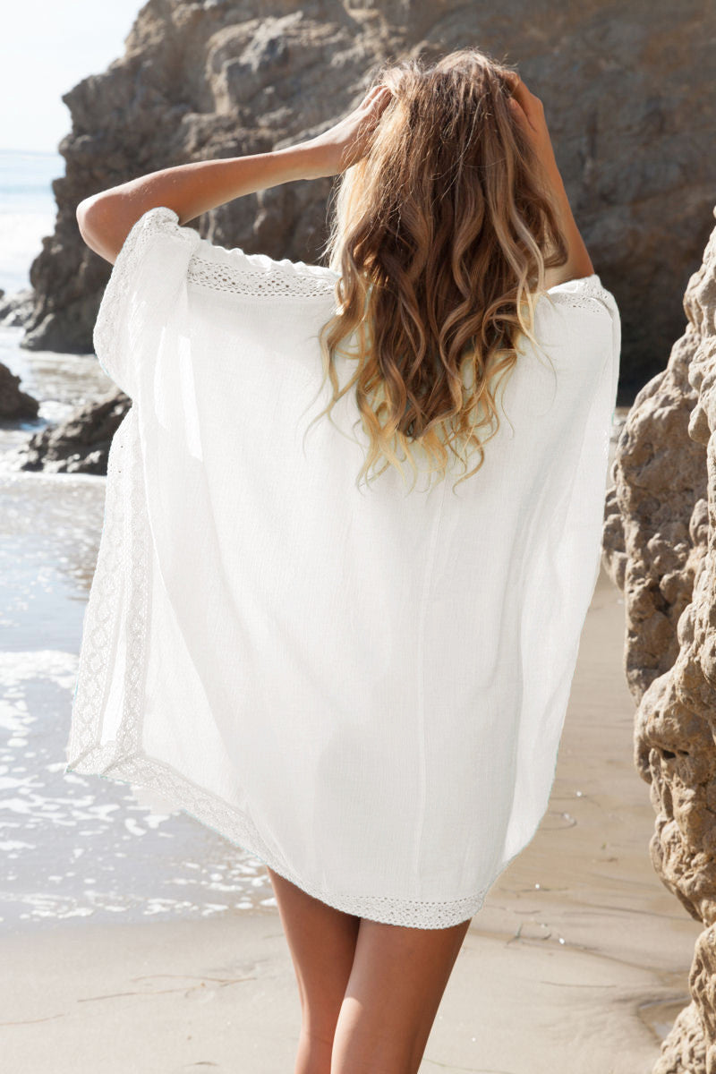 Loose V-neck Long Sleeve Short Beach Cover Up Dress - Meet Yours Fashion - 4