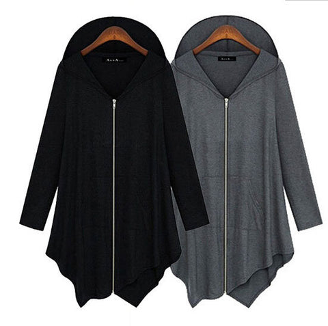 Zipper Asymmetric Large Cardigan Hooded Solid Color Hoodie - Meet Yours Fashion - 4