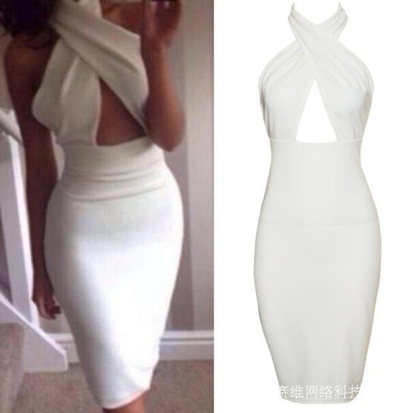 Hollow Chest Backless Bodycon Slim Dress - MeetYoursFashion - 5