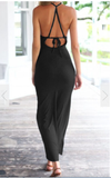Spaghetti Strap Split Backless Solid Slim Beach Dress - Meet Yours Fashion - 5
