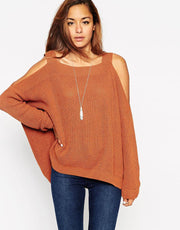 Fashion Sexy Dew Shoulder Irregular Loose Sweater