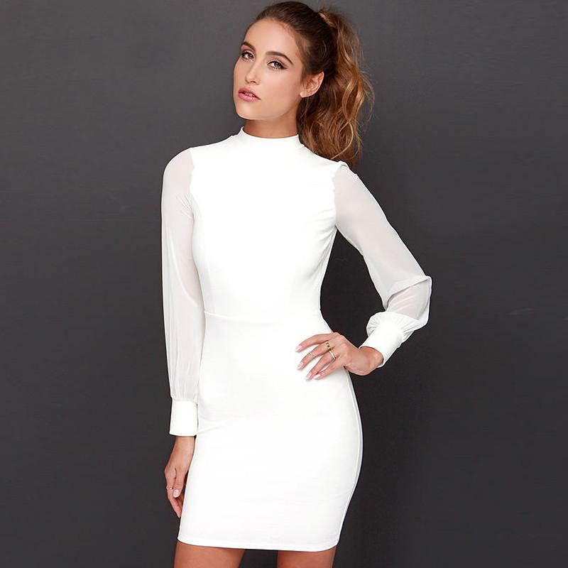 Slim Pure Color Splicing Backless Long sleeve Short Dress - Meet Yours Fashion - 2