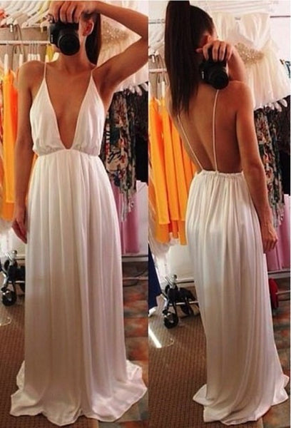 Deep V-neck Straps Split Backless Long Dress - MeetYoursFashion - 3