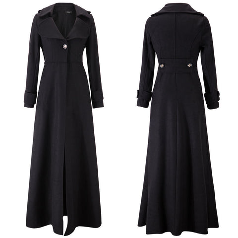 Turn-down Collar Woolen Slim Full Length Coat - Meet Yours Fashion - 12