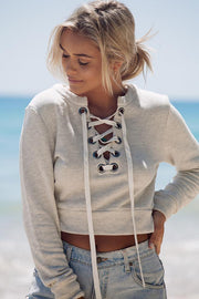 Pullover Solid Color Lace Up Scoop Short Sweatshirt - Meet Yours Fashion - 1