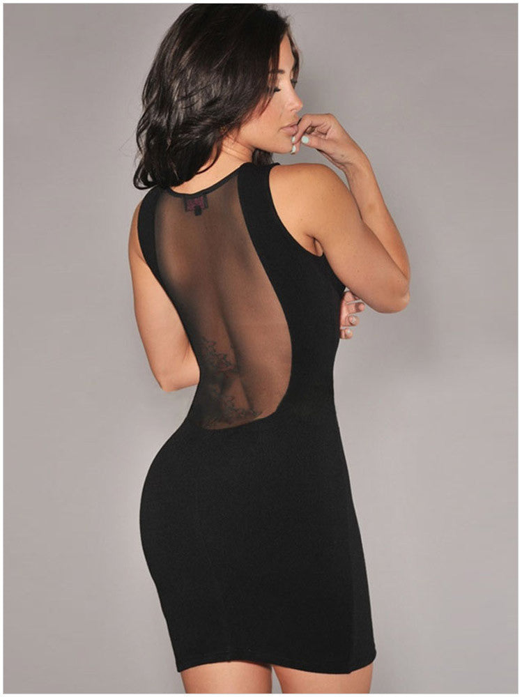 O-neck Mesh Transparent Backless Little Black Club Dess - MeetYoursFashion - 3