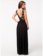 Lace Chiffon Backless Long Prom Dress - MeetYoursFashion - 7