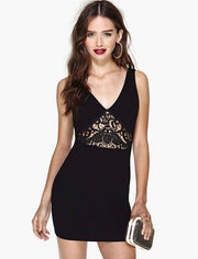 Sexy Black Hollow Out Lace Short Dress