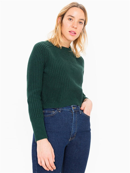 Ribbed Knit Scoop Pullover Solid Short Sweater