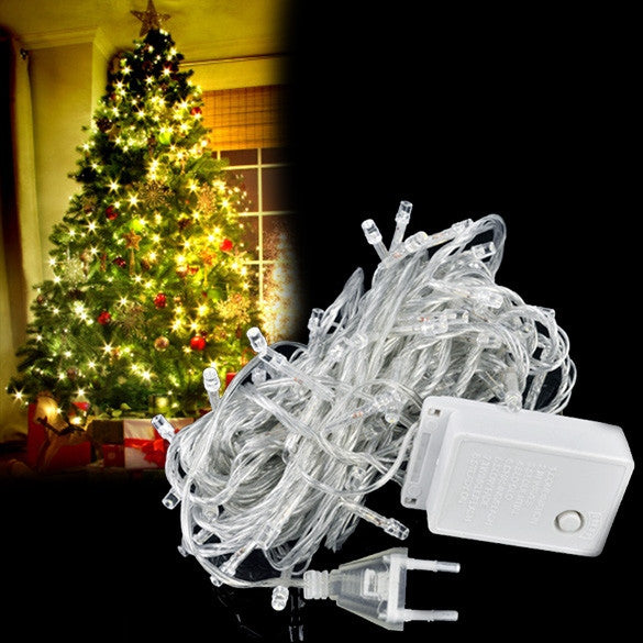 10M 100 LED White Lights Decorative Christmas Party Twinkle String EU