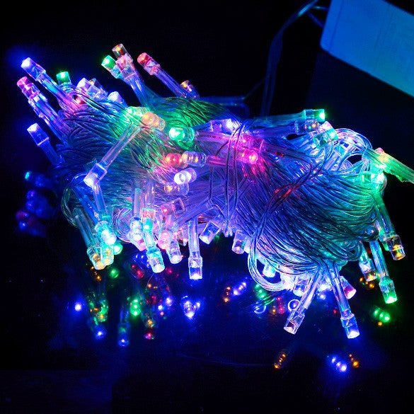 10M 100 LED Colorful Lights Decorative Christmas Party Festival Twinkle String Lamp Bulb 220V EU