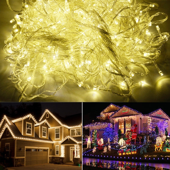 100M 600 LED Warm White Lights Decorative Wedding Fairy Christmas Tree Party Twinkle String Lighting EU