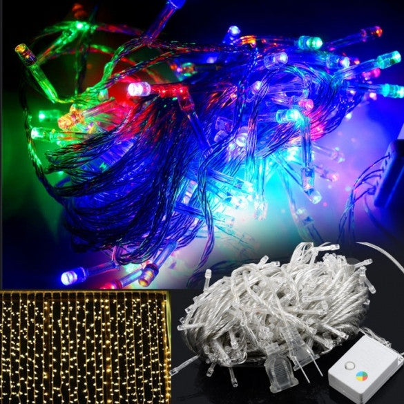 20M 200 LED Multi-color Fairy Lights Christmas Wedding Party Twinkle String Lamp Bulb With Tail Plug 110V US