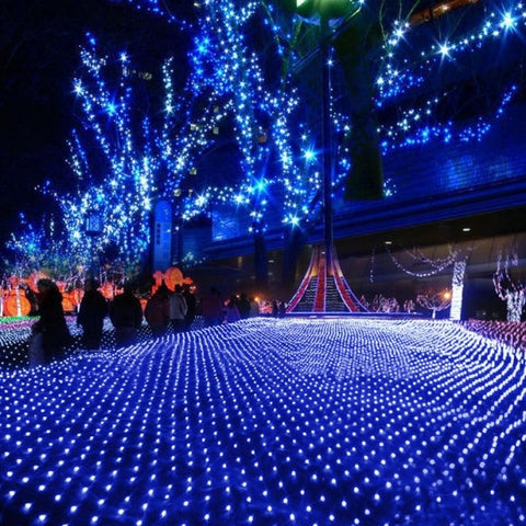 Blue 200 LED Net Mesh Decorative Fairy Lights Twinkle Lighting Christmas Wedding Party EU/110-240V