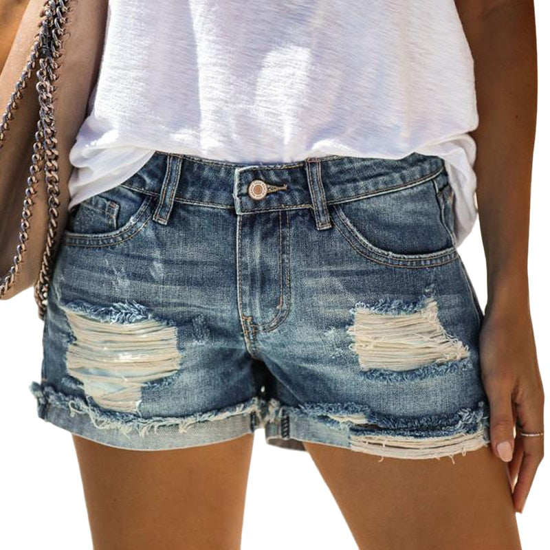 Denim Hole Straight Short Pants
