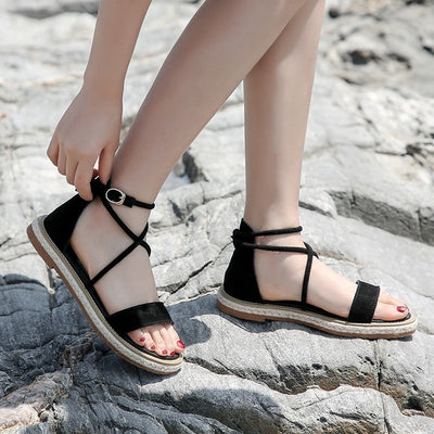 Gladiator Lace Up Flat Open Toe Sandals