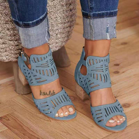 High Heel Gladiator Buckle Strap Chunky Heel Sandals