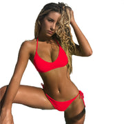 Hot Halter Bright Color Low Rise Thong Bottom Bikinis