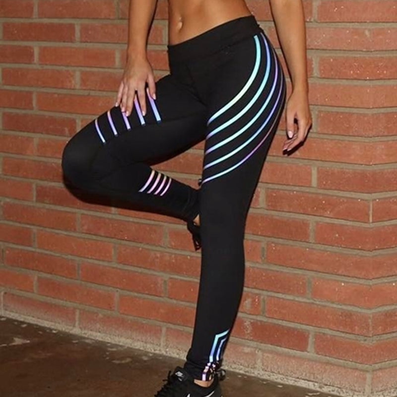 High Waist Iridescent Reflective Bodycon Leggings Pants