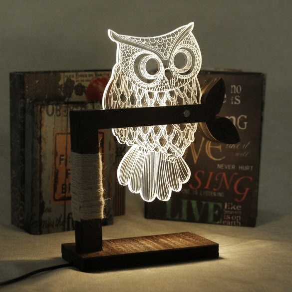 New Home 3D Owl Shape LED Desk Table Light Lamp Night Light US Plug