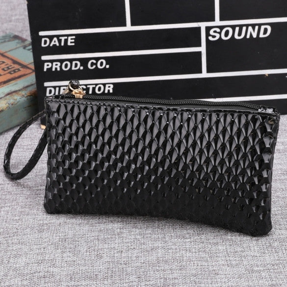 New Women Synthetic Leather Plaid Clutch Wallet Rectangle Casual OL Party Purse