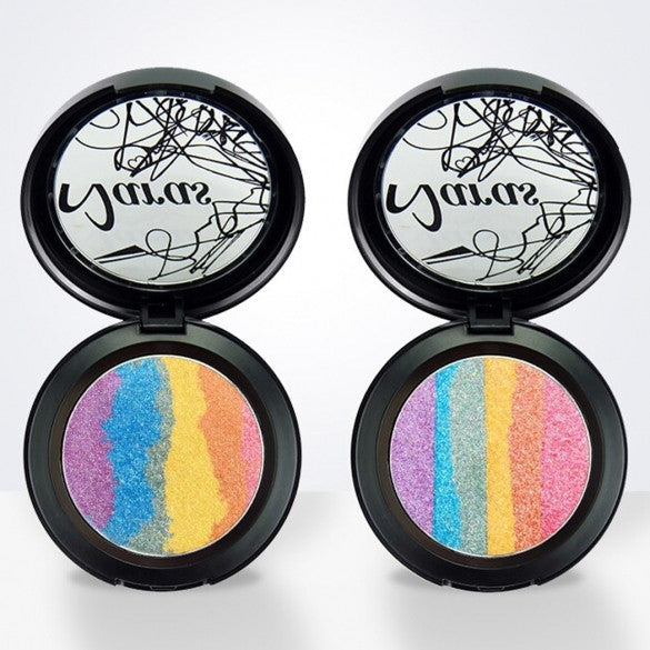6 Colors Rainbow Eyeshadow Highlighter Powder Makeup Cosmetic Shimmer Eye Shadow Palette Blusher
