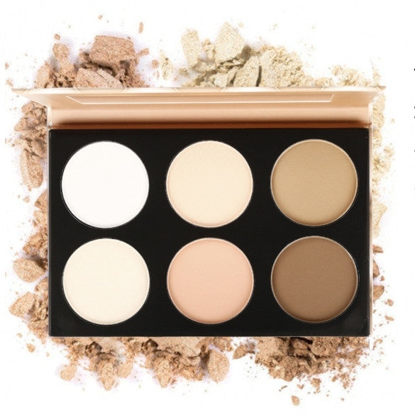 6 Colors Pressed Powder Makeup Cosmetic Foudation Bronzer Highlighter Contouring Face Powder Palette With Mirror