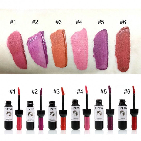 6 Colors Waterproof Lip Gloss Makeup Cosmetic Bottle Shape Long-lasting Lip Tint