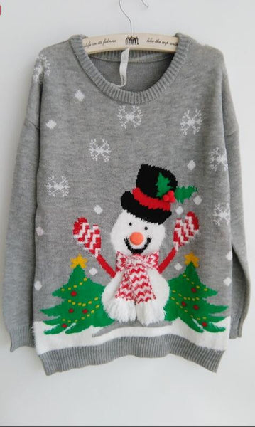 Fashion Christmas Tree Snowman Round Collar Knit Sweater