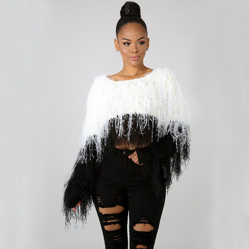 Colorbloock Fringe Crochet Cropped Sweater