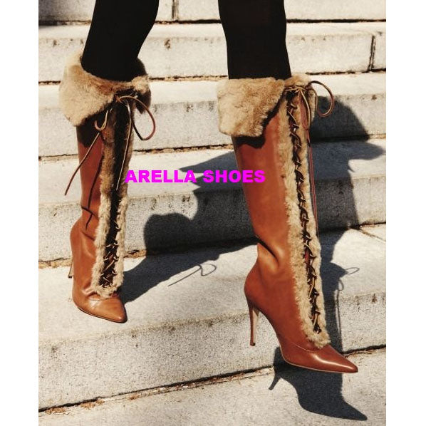 dbddd725a416 Faux Fur Pointed Toe Lace UP Stiletto High Heel Knee-length Boots –  MeetYoursFashion