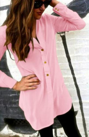 V-neck Pure Color Long Sleeves Long Chiffon Blouse - Meet Yours Fashion - 1