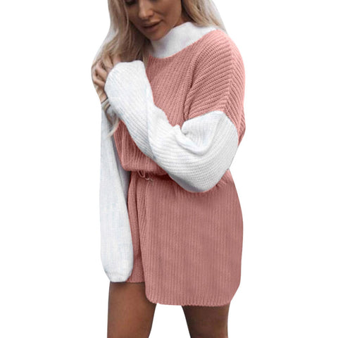 Loose Mock Neck Colorblock Knit Sweater Dress