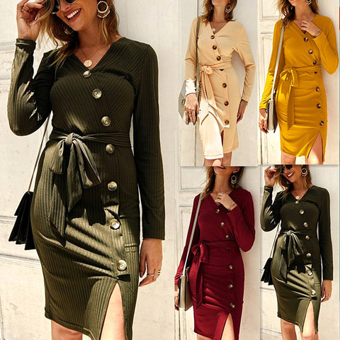 Long Sleeve Bodycon Belt Button Sweater Dress