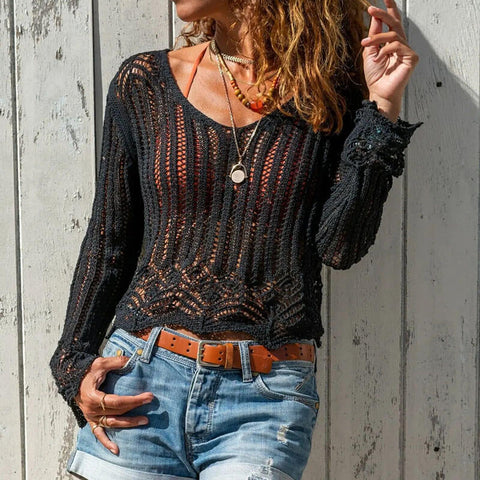 Hollow Out Scoop Neck Thin Sweater