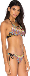 Sexy Print Halter Lace Up Tassel Two Pieces Set Bikini